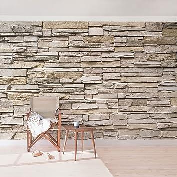 Vliestapete steinoptik küche  Fototapete | Steintapete Asian Stonewall - Steinmauer aus großen ...