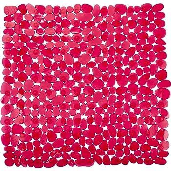 Rote Anti Rutsch Matte f/ür die Dusche Duscheinlage mit Saugn/äpfen Gr/ö/ße: 53 x 53cm Schadstofffreie Duschmatte in sch/öner Kieseldekor Steinoptik