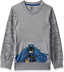 Batman Kids Boy's Dark Grey Melange Color Sweatshirt
