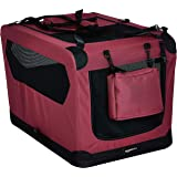 AmazonBasics Premium Folding Portable Soft Pet Dog Crate Carrier Kennel - 30 x 21 x 21 Inches, Red