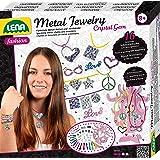 Lena 42658 - Bastelset Metallschmuck mit Kristall Edelsteinen Komplettset mit 16 Metall Schmuckanhängern 6 Bändern 650 Strass