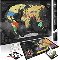 Wond3rland Premium Scratch Off Map of The World + Bonus Europe Map   Personalized Wall Map Poster   Deluxe Gift for Travelers & Travel Tracking   Complete Accessories Set + eBook Included