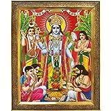 Koshtak Sri Satyanarayan Swamy Vishnu Avatar Photo Frame for Wall Hanging/Gift/Temple/puja Room/Home Decor Golden Frame with