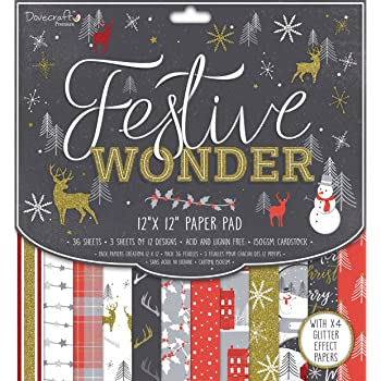 "Dovecraft Christmas 2018 Premium Collection - Festive Wonder Paper Pack 12""x12"" (FSC)"