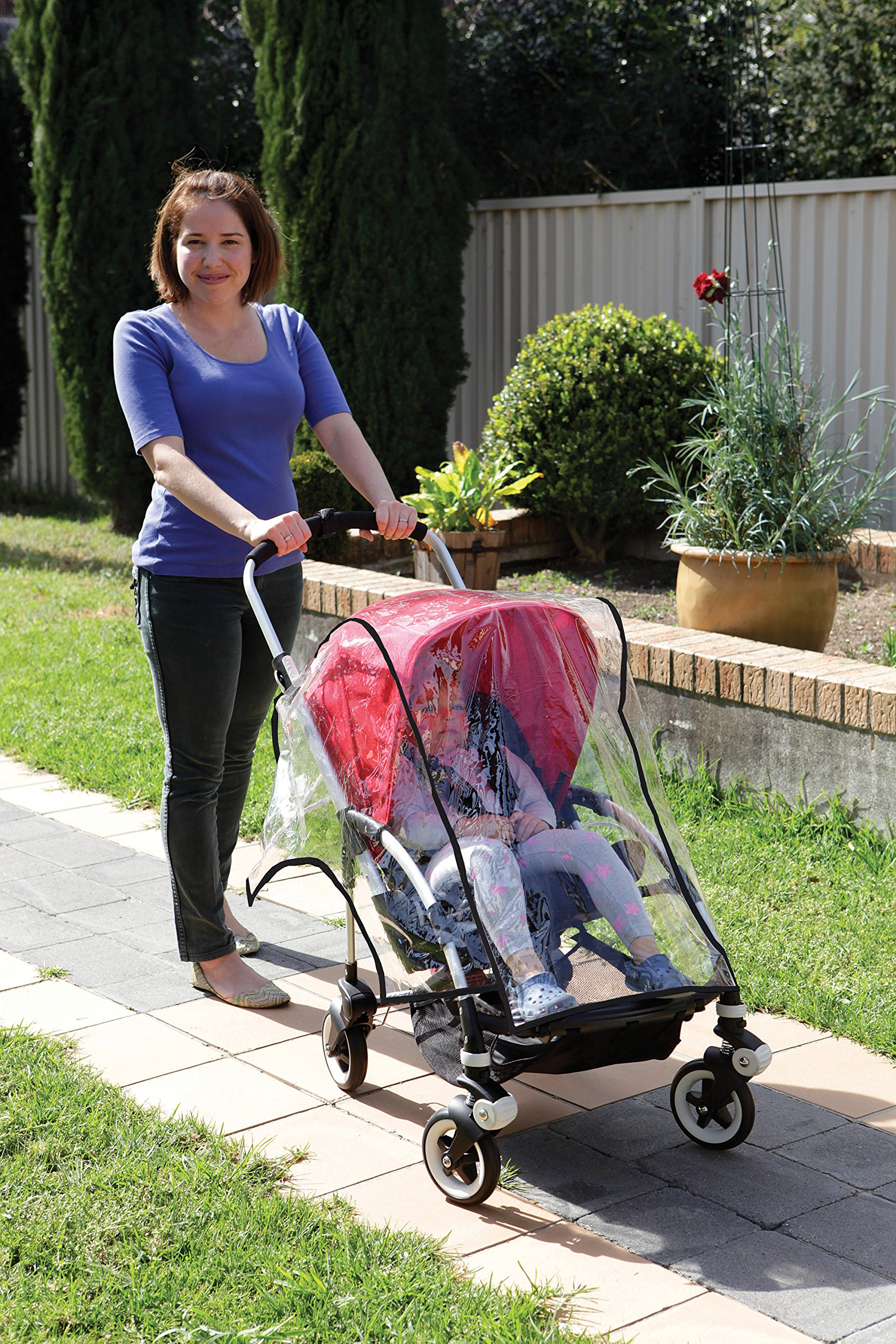 Dreambaby Stroller Weather Shade Dream Baby Transparent so that your child can still see out of the stroller clearly Made of a flexible plastic which is easy to wipe clean and dry off Fits most standard sized hooded strollers 2
