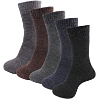 RC. ROYAL CLASS Men's Woolen Calf Length Solid Thick Terry Winter Wear Socks (Multicolor, Free Size) - Pack of 5 Pairs