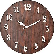 Cloacker Wood Elegant Wall Clock (25 cm x 25 cm x 3 cm, Brown)