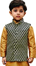 JBN Creation Boys Silk Cotton Modi Nehru Jacket (Black_VASBJBL005)
