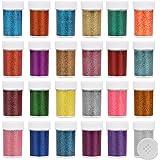 Kurtzy Paillettes Visage (Lot de 24) - Pot de Poudre Fine de 13 g Colorée - Paillettes Loisirs Creatifs pour Enfants, Slime,