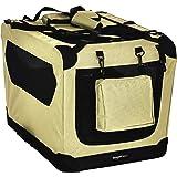 AmazonBasics Premium Folding Portable Soft Pet Dog Crate Carrier Kennel - 26 x 18 x 18 Inches, Khaki