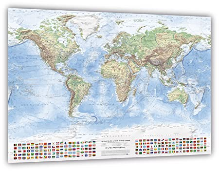 Physical world map with flags size 120x80 cm english updated physical world map with flags size 120x80 cm english updated 2017 amazon kitchen home gumiabroncs Gallery