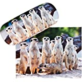 VON LILIENFELD Brillenetui Erdmännchen Surikate Motiv Etui Brille Mikrofaser Brillenputztuch Brillenbox Stabiles Hardcase Set