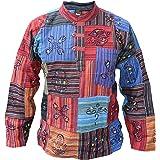 Gheri Men's Patchwork Hippie Grandad Printed Symbols Casual Shirt