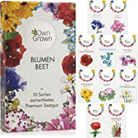 Blumen Samen für Garten und Balkon: 10 Sorten Premium Blumensamen Tütchen als Pflanzensamen Set – Balkonblumen Samen…