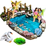 Fairy Garden Fish Pond Kit - Miniature Bridge Fairy Garden Figurines with Accessories - Hand Painted Set of 6 pcs for Outdoor
