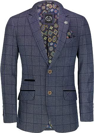 Xposed Men's Classic Windowpane Check Suit Jacket Retro Tailored Fit Tweed Blazer in Oak Tan Navy Blue