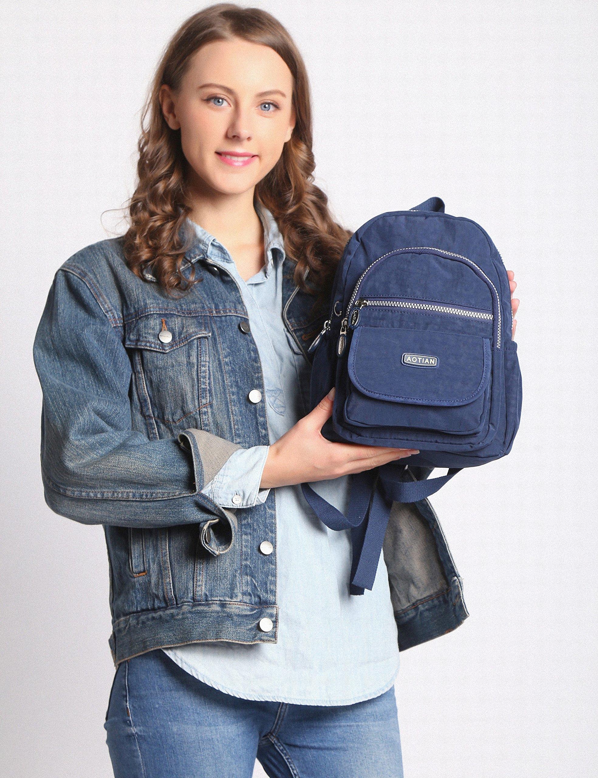 AOTIAN Mujer Peso Ligero Mochilas de Casual Juveniles Bolsas Escolares Bolsa de Uso Diario 9 litros Azul
