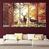 Kyara arts Multiple Frames, Beautiful Deers Nature Wall Painting for Living Room, Bedroom, Office, Hotels, Drawing Room Woode