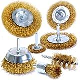 S&R Spazzole Metalliche per Trapano per Ruggine Metallo Legno. Codolo 6 mm