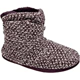 Coolers Ladies Plum Knitted Warm Lined Ruched Collar Boot Slippers