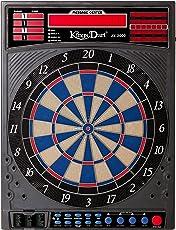 """Kings Dart E-Dartscheibe """"Profi Turnier""""   Elektronische Turnier Dartscheibe   Inkl. 24 Dartpfeilen   Laufschrift + Sound   2-Loch-Segmente   46 Spielvarianten   Für Softdarts bis 18 g"""