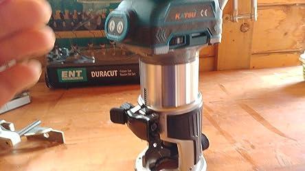 Bater/ía 4.0 Ah y Cargador KATSU Juego de Fresadora de Madera Rebajadora Inal/ámbrica de 18 V con 3 Bases 3 Pinzas de 6 mm 8 mm y 10 mm