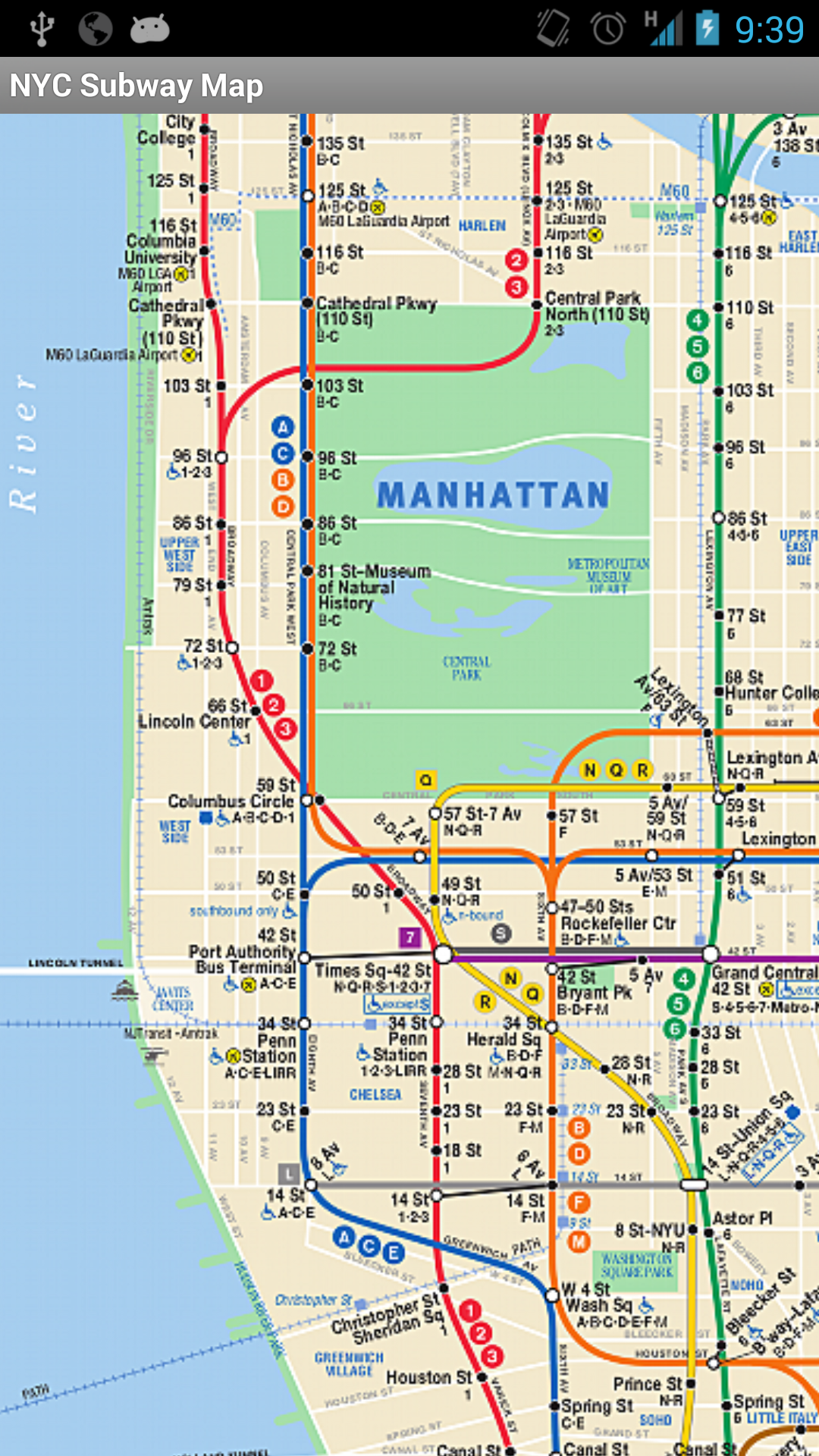 Subway Map For New York City.Subway Map Nyc