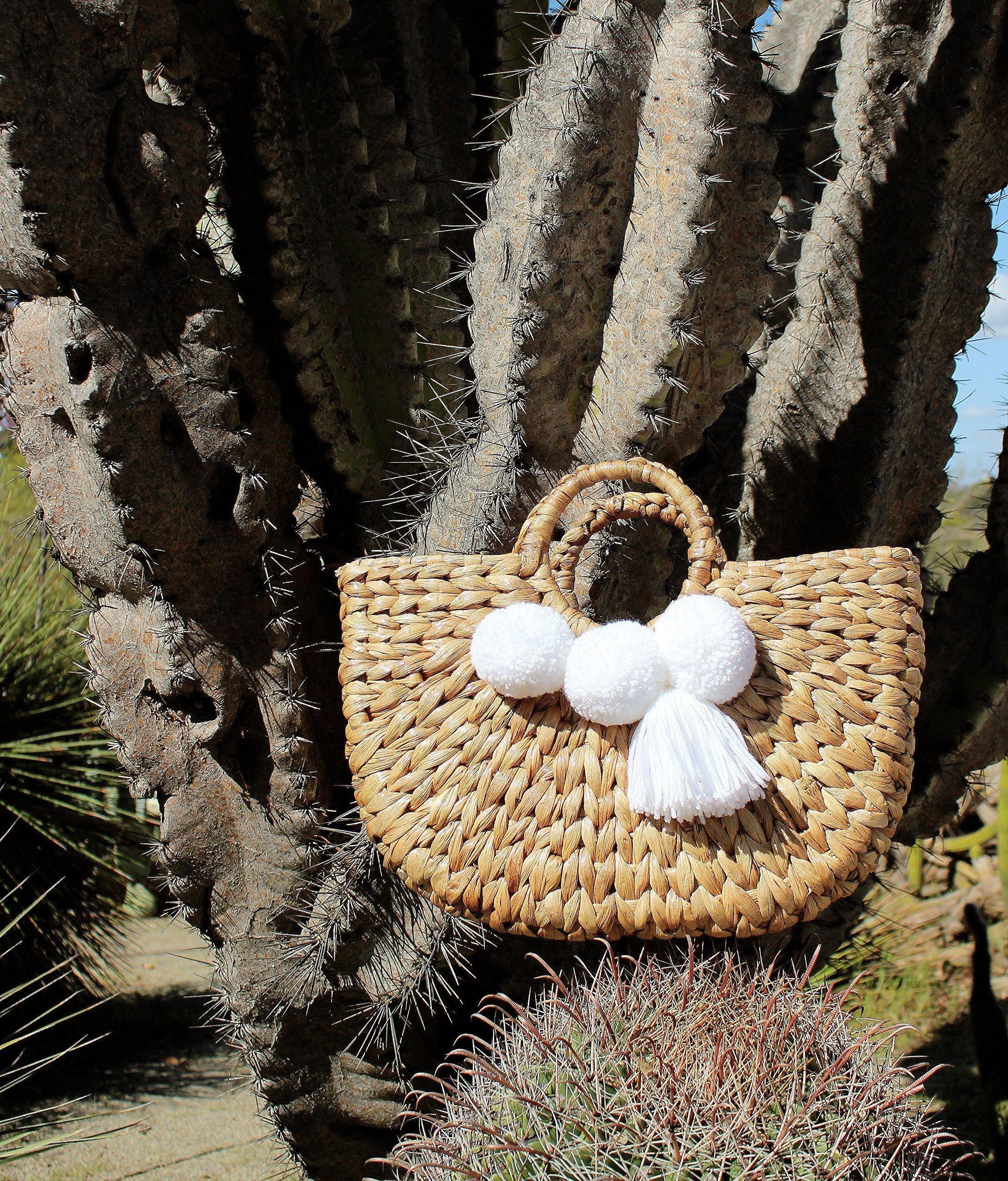 """Brunna Beach Bag"" Water Hyacinth bag, in White / Picnic Bag / Boho Chic Bag / Shabby Chic Bag / Woven Bag / Pompom Beach Bag - handmade-bags"