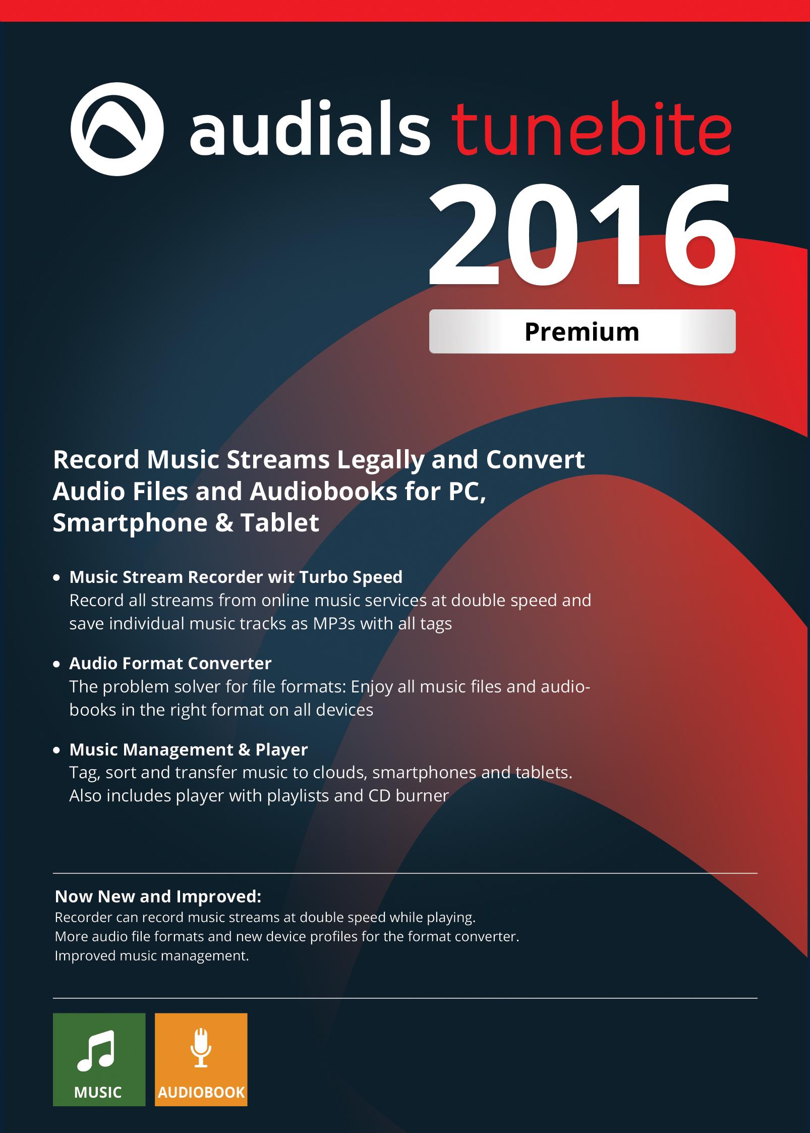 Audials Tunebite 2016 Premium: Günstiger Rekorder zum Aufnehmen von Musikstreaming mit Audio-Formatwandler [Download] (Handy-sperrung)