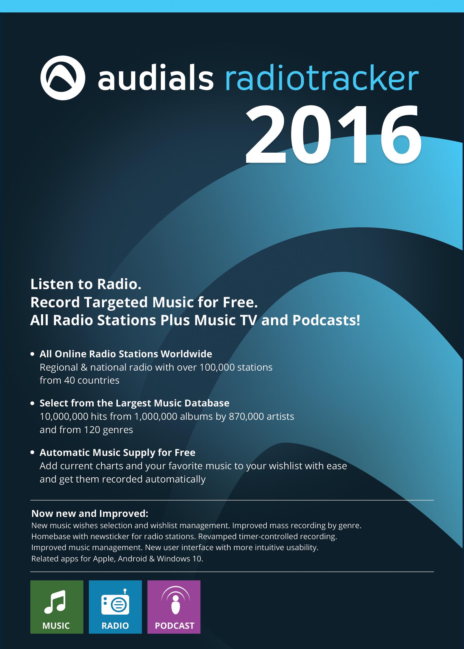 Audials Radiotracker 2016: Komfortables Radio für den PC inklusive Rekorder für kostenlose Musikversorgung [Download]