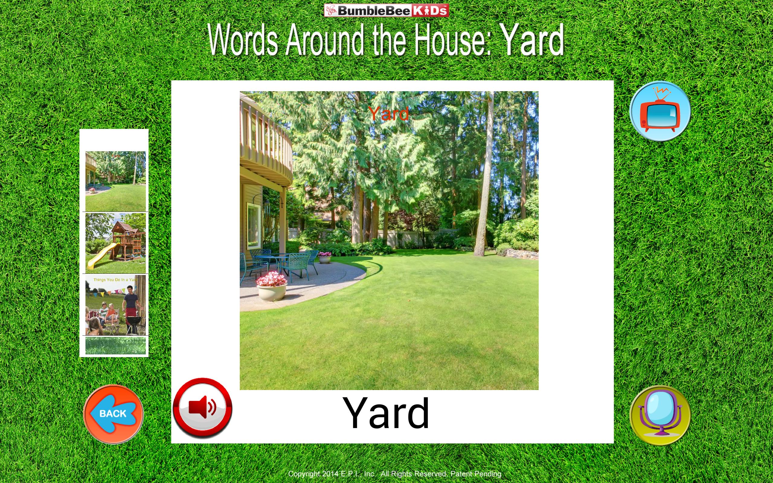 Words Around the HouseTM - Yard -Video Flashcard Player ...
