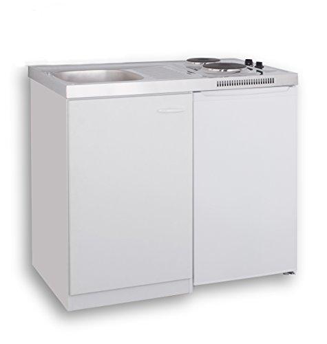 MEBASA MK0001 Pantryküche, Miniküche 100 cm Weiß mit Duokochfeld ...
